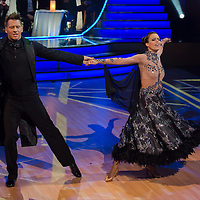 Csaba Vastag and Tunde Marmarosi dance in the live broadcast celebrity dancing talent show Saturday Night Fever by Hungarian television company RTL II in Budapest, Hungary on March 16, 2013. ATTILA VOLGYI