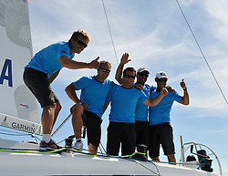 Bruni and his crew celebrates his Match Race Germany victory. Photo:Chris Davies/WMRT