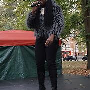 London, UK. 8th October, 2016. Bashiyra Da Voice preforms at The Tottenham Green Multicultural Festival,London,UK. Photo by See Li