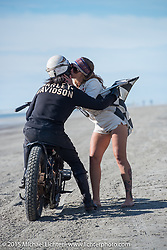 Atsushi (Sushi) Yasui of Freewheelers and Company from Japan on his antique Harley-Davidson racer at the Race of Gentlemen. Wildwood, NJ, USA. October 10, 2015.  Photography ©2015 Michael Lichter.