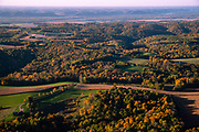 Sunrise aerial image over RIchland County, Wisconsin on a beautiful morning.