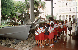 Group of school children being shown round the Museum of the Revolution in Havana; Cuba,