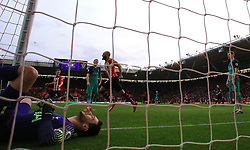 Southampton's Nathan Redmond (centre) celebrates team-mates Yann Valery's (not pictured) first goal of the game
