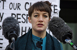 © Licensed to London News Pictures. 24/02/2016. Willesden, UK. Campaigner DANNI PAFFARD speaking outside Willesden Magistrates Court in London where she and 12 other members of activist group Plane Stupid appeared charged with trespassing on the north runway at Heathrow Airport whilst protesting against a third runway.   Photo credit: Denis McWilliams/LNP