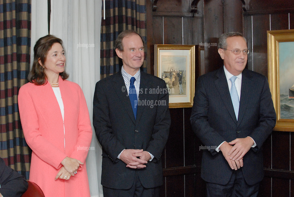 "Mrs. and Mr. David Boies Esq. with Yale President Richard C. Levin. Reception for Maurice R. ""Hank"" Greenberg at 21 Club NYC 18 Sept 2007 Honoring the endowment of the David Boies Professorship of Law at Yale Law School."