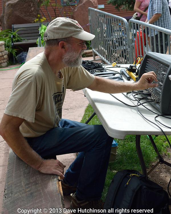 Sound technician Dean Rolley at the Telluride Film Festival in Telluride Colorado.