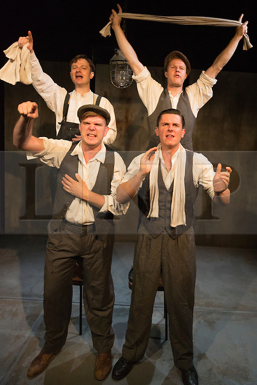 © Licensed to London News Pictures. 28/07/2015. London, UK. Top: Salvatore D'Aquilla (Bob) and Paul Tinto (Phil), bottom: Kieran Knowles )(Tommy) and James Wallwork (Arthur). World premiere of the play Operation Crucible at the Finborough Theatre. The play commemorates the 75th anniversary of the Sheffield Blitz and the 70th anniversary of the end of the Second World War with four men trapped in the rubble. The play by Kieran Knowles and directed by Bryony Shanahan runs at the Finborough Theatre from 28 July to 22 August 2015. With Salvatore D'Aquilla, Kieran Knowles, Paul Tinto and James Wallwork. Photo credit: Bettina Strenske/LNP