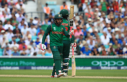 Bangladesh's Mushfiqur Rahim celebrates 50 runs during the ICC Champions Trophy, Group A match at The Oval, London.