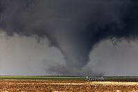 A tornado churns in a field near Dodge City, Kansas, May  24, 2017.