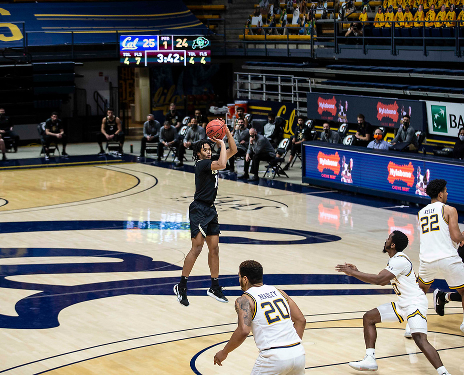 February 13 2021 Berkeley, CA  U.S.A. Colorado guard Keeshawn Barthelemy (11) shoots the ball in the first half during the NCAA Men's Basketball game between Colorado Buffaloes and the California Golden Bears 62-71lost at Hass Pavilion Berkeley Calif.  Thurman James / CSM