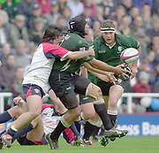 Reading, Berkshire, 10th May 2003,  [Mandatory Credit; Peter Spurrier/Intersport Images], Zurich Premiership Rugby, London Irish No. 8 Chris Sheasby,  [centre] releases the ball for, Simon Halford, to move onto - Shoguns scrum half Agustin Pinhot ,[left] tackling Sheasby.