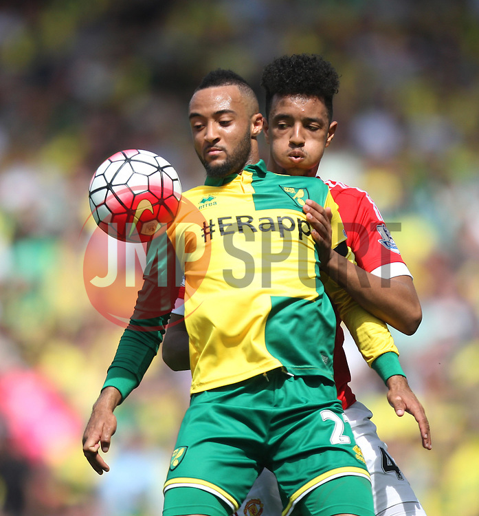 Nathan Redmond of Norwich City (L) and Cameron Borthwick-Jackson of Manchester United in action - Mandatory by-line: Jack Phillips/JMP - 07/05/2016 - FOOTBALL - Carrow Road - Norwich, England - Norwich City v Manchester United - Barclays Premier League