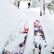 Tyler Hatcher and Jay Goodrich skin back up to the top for another run in the Mount Baker Backcountry.