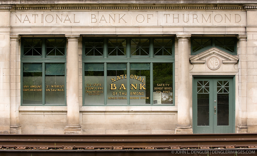 The National Bank of Thurmond located in the mostly abandoned town of Thurmond, West Virginia is part of the New River Gorge National  Park and Reserve. During the height of coal mining in the New River Gorge, Thurmond was a properous town with banks and other businesses.