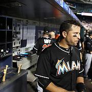 Martin Prado, MIami Marlins, in the dugout preparing to bat during the New York Mets Vs Miami Marlins MLB regular season baseball game at Citi Field, Queens, New York. USA. 16th September 2015. Photo Tim Clayton