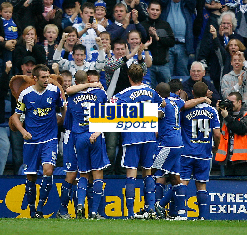 Photo: Steve Bond.<br /> Leicester City v Barnsley. Coca Cola Championship. 27/10/2007. Patrick Kisnorbo (3) is congratulated