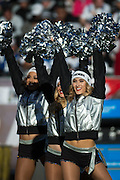 The Oakland Raiders cheerleaders perform during a timeout against the Indianapolis Colts at Oakland Coliseum in Oakland, Calif., on December 24, 2016. (Stan Olszewski/Special to S.F. Examiner)