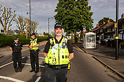 Birmingham, United Kingdom, June 14, 2021: Police are seen at the site after Palestine Action activists took over the rooftop of an American industrial factory known as Arconic in Birmingham on Monday, June 14, 2021. Some other activists used a sledgehammer to protest against the company who they say 'provided cladding for Grenfell Tower' and 'materials for Israel's fighter jets.' (Photo by Vudi Xhymshiti)