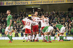 November 14, 2017 - Dublin, Ireland - Danish players celebrate after the FIFA World Cup 2018 Play-Off match between Republic of Ireland and Denmark at Aviva Stadium in Dublin, Ireland on November 14, 2017 Denmark defeats Ireland 5:1. (Credit Image: © Andrew Surma/NurPhoto via ZUMA Press)