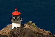 A top view of Makapuu Lighthouse on the east end of the island of Oahu in Hawaii.