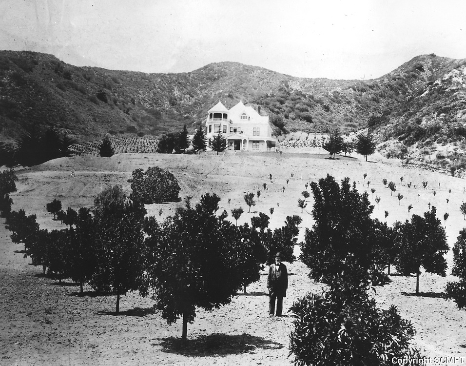 1897 C.F. Harper standing in front of his home located just west of Laurel Canyon near west end of Hollywood Blvd.