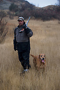 Experienced hunter Eric Grubb with his labrador retriever dog out on the North Dakota prarie grasslands west of Minot, shooting upland game birds such as grouse (also known in this area as 'chickens'). Eric has been shooting for most of his life and puts considerable efforts into his hunting, efforts which reward him with wild game meats, none of which is wasted. This cold wet morning is not ideal for this type of shooting as the birds tend to sit tight in the undergrowth. The hunters on occasion nearly tread on the birds before they will take flight.