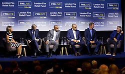 (left to right) Jacqui Oatley MBE, Arsene Wenger, Les Ferdinand, Paul Elliot, Henry Winter, and Gary Lineker during the Football Writers Association Live event at Ham Yard Hotel, London.
