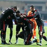 Besiktas's Demba Ba (C) celebrate his goal with team mate during their Turkish Super League soccer match Istanbul Basaksehir between Besiktas at the Basaksehir Fatih Terim Arena at Basaksehir in Istanbul Turkey on Sunday, 09 November 2014. Photo by Kurtulus YILMAZ/TURKPIX