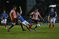 Football - 2018 / 2019 EFL Sky Bet League One - Play-Off Semi-Final,Second Leg: Portsmouth (0) vs. Sunderland (1)<br /> <br /> Portsmouth's Brett Pitman finds his way to goal blocked by Sunderland defenders during the second leg of the League One play off semi final at Fratton Park <br /> <br /> COLORSPORT/SHAUN BOGGUST