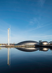 View of Glasgow Tower, Glasgow Science Centre North Quay and IMAX Cinema beside River Clyde on blue sky wintery, Scotland, United Kingdom