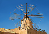 Mulino d'Infersa (mill of Infersa) wind mill, Ettore saltworks,  Saline della Laguna, Masala, Sicily. .<br /> <br /> Visit our SICILY PHOTO COLLECTIONS for more   photos  to download or buy as prints https://funkystock.photoshelter.com/gallery-collection/2b-Pictures-Images-of-Sicily-Photos-of-Sicilian-Historic-Landmark-Sites/C0000qAkj8TXCzro<br /> If you prefer to buy from our ALAMY PHOTO LIBRARY  Collection visit : https://www.alamy.com/portfolio/paul-williams-funkystock/trapanimaslalasaltpans.html .<br /> <br /> Visit our SICILY HISTORIC PLACES PHOTO COLLECTIONS for more   photos  to download or buy as prints https://funkystock.photoshelter.com/gallery-collection/2b-Pictures-Images-of-Sicily-Photos-of-Sicilian-Historic-Landmark-Sites/C0000qAkj8TXCzro<br /> .<br /> <br /> Visit our EARLY MODERN ERA HISTORICAL PLACES PHOTO COLLECTIONS for more photos to buy as wall art prints https://funkystock.photoshelter.com/gallery-collection/Modern-Era-Historic-Places-Art-Artefact-Antiquities-Picture-Images-of/C00002pOjgcLacqI