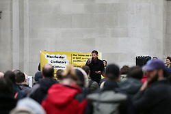 © Licensed to London News Pictures. 03/10/2021. Manchester UK. Architect and TV personality George Clarke speaks at the 'Cladiators Party Conference' in St Peter's Square. The campaign aims to protect residents from the effects and costs of dangerous building cladding, with the event timed to coincide with the nearby Conservative Party Conference.  Photo credit: Adam Vaughan/LNP