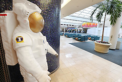 A NASA astronaut statue looks over the empty terminal as Orlando International Airport is closed on Tuesday, September 3, 2019 ahead of Hurricane Dorian. Photo by Stephen M. Dowell/Orlando Sentinel/TNS/ABACAPRESS.COM