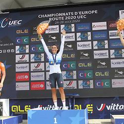 26-08-2020: Wielrennen: EK wielrennen: Plouay<br /> De Italiaanse Elisa Balsamo (Italy) pakt de titel bij de vrouwen onder de 23 jaar voor Lonneke Uneken (Netherlands) en Deense Emma Norsgaard Jorgensen (Denmark)26-08-2020: Wielrennen: EK wielrennen: Plouay
