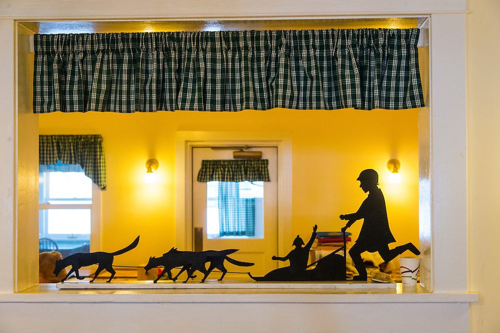 A metal sculpture of mushing decorates a lodge at Bay Cliff Health Camp.