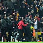 Galatasaray's Selcuk Inan (R) celebrate his goal with team mate during their Turkish Super League soccer match Galatasaray between Manisaspor at the TT Arena at Seyrantepe in Istanbul Turkey on Wednesday, 21 December 2011. Photo by TURKPIX