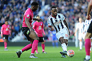West Brom's Saido Berahino (18) looks to pass. The Emirates FA Cup, 4th round match, West Bromwich Albion v Peterborough Utd at the Hawthorns stadium in West Bromwich, Midlands on Saturday 30th January 2016. pic by Carl Robertson, Andrew Orchard sports photography.