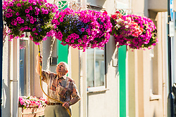 ©Licenced to London News Pictures Aberystwyth, UK. 10/7/2018. A man uses a hosepipe to water the hanging baskets outside his home in Aberystwyth Wales, on yet another hot and sunny morning. The long spell of dry weather continues with  no sign of significant rain in the forecast. Some parts of the UK are experiencing almost drought conditions, with low water levels in many rivers and reservoirs. Hosepipe bans are already in place in Northern Ireland. Photo credit: Keith Morris/LNP