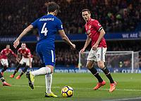 Football - 2017 / 2018 Premier League - Chelsea vs Manchester United<br /> <br /> Old team mates face off Cesc Fabregas (Chelsea FC)  and Nemanja Matic (Manchester United) at Stamford Bridge <br /> <br /> COLORSPORT/DANIEL BEARHAM