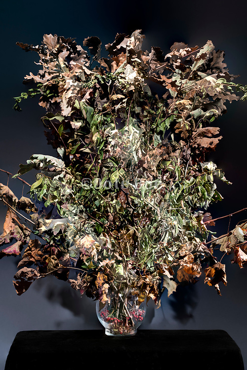 autumn season with oak leaves floral bouquet composite