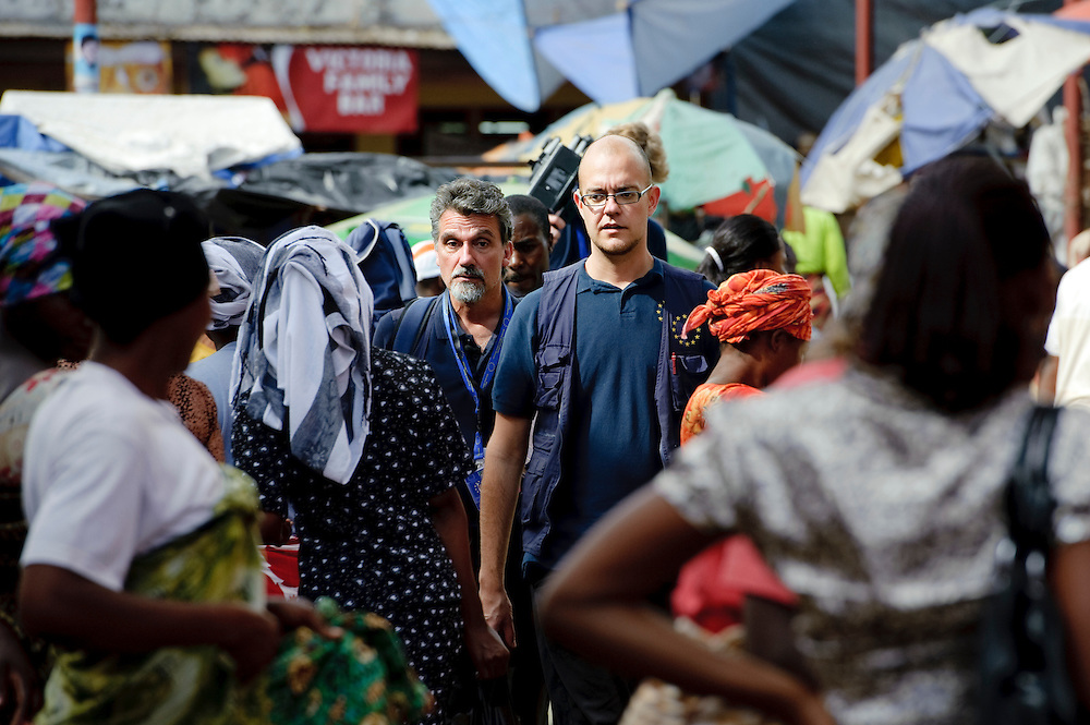 Arusha, 01 November 2010.E.U. Observers Andreas Jordan (left) and Marcell Nagy (right) on the way to check a polling station in Arusha ..The European Union has launched an Election Observation Mission in Tanzania to monitor the general elections, responding to the Tanzanian government invitation to send observers for all aspects of the electoral process..The EU sent this observation mission led by Chief Observer David Martin, a member of the European Parliament. .PHOTO: Ezequiel Scagnetti / European Union