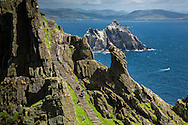Visitors descending stairs from the monastery plateau, Skellig Michael, County Kerry, Ireland