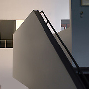 Paris, France, 2004: Stairs at first floor, La Roche house (1923) at 8-10 square Doctor Blanche - Le Corbusier arch - Photographs by Alejandro Sala (Historical archivi AS)