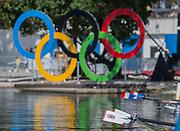 "Rio de Janeiro. BRAZIL.  Silver Medalist GBR W2X. Bow. Vicky THORNLEY and Katherine GRAINGER. 2016 Olympic Rowing Regatta. Lagoa Stadium,<br /> Copacabana,  ""Olympic Summer Games""<br /> Rodrigo de Freitas Lagoon, Lagoa. Local Time 11:24:42  Thursday  11/08/2016 <br /> [Mandatory Credit; Peter SPURRIER/Intersport Images]"