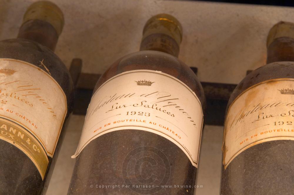 Chateau d'Yquem 1923 1922 1924 Lur Saluces, Sauternes, Bordeaux in a collection of all vintages of Bordeaux first growth bottles.  Ulriksdal Ulriksdals Wärdshus Värdshus Wardshus Vardshus Restaurant, Stockholm, Sweden, Sverige, Europe