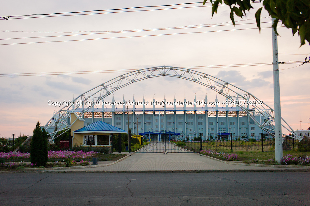 20150826 Tiraspol,  Moldova, Transnistria. The Sherif stadium seen from the side entrance. This is the newly build mega stadium for the national football team