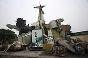 Army Museum. Monument made of wreckage from American war planes shot down during Vietnam war.