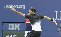 September 6, 2017 - New York, New York, United States - Roger Federer of Switzerland serves during match against Juan Martin del Potro of Argentina at US Open Championships at Billie Jean King National Tennis Center  (Credit Image: © Lev Radin/Pacific Press via ZUMA Wire)