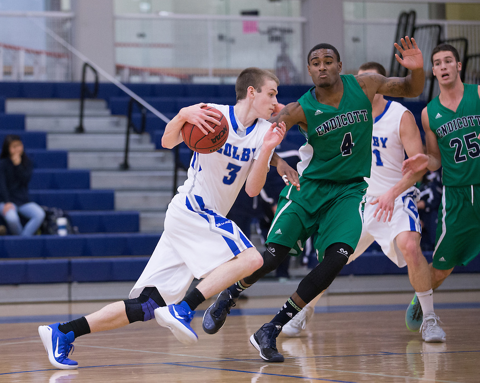 Luke Westman, of Colby College, in a NCAA Division III basketball game against the Endicott College on November 22, 2014 in Waterville, ME. (Dustin Satloff/Colby College Athletics)