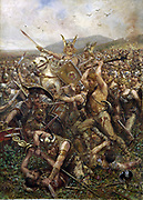 Otto Albert Koch (1866-1920), German graphic artist. 1909 'the Battle of the Teutoburg Forest or the Battle of Varus' In 9 AD, Varus had stationed his armies near the Weser River with his three legions, the Seventeenth, the Eighteenth and the Nineteenth, when news arrived of a growing revolt in the Rhine area to the west.